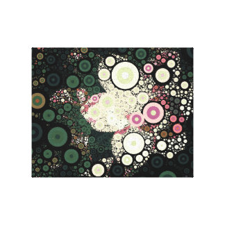 Pop Art Concentric Circles Floral Yellow Canvas