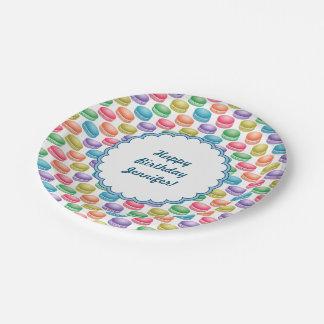 Pop Art Cookies Colorful Macarons Paper Plate