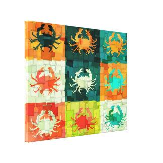 Pop Art Crabs Cubism Stretched Canvas Print