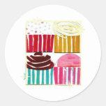 Pop Art Cupcakes Round Sticker