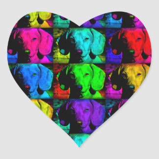 Pop Art Dachshund Doxie Sweet Face Soulful Eyes Heart Sticker
