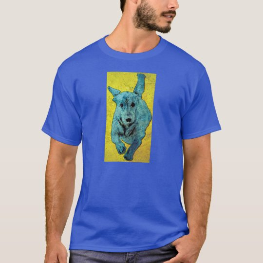 Pop Art Dachshund Running Grunge T-Shirt