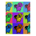 Pop Art Dachsund Doxie Panels Multi-Colour Popart Post Card