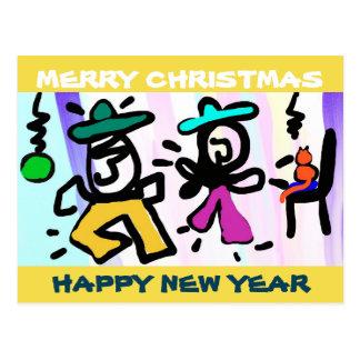 Pop art Dancing! Merry Christmas! Postcard