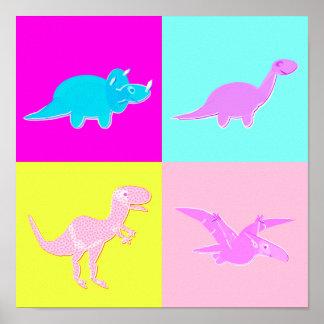 Pop Art Dinosaurs Poster Print