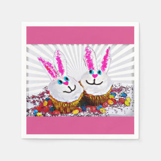 Pop Art Easter Bunny Cupcakes Disposable Napkins