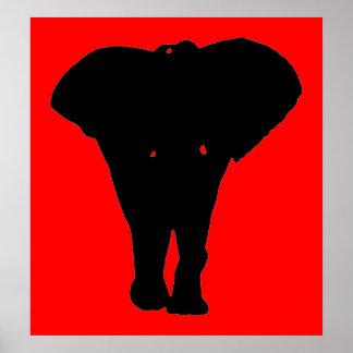Pop Art Elephant Silhouette Poster