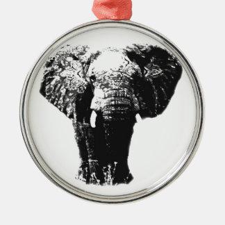 Pop Art Elephant Silver-Colored Round Decoration