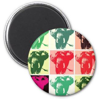 Pop Art Elephants 6 Cm Round Magnet