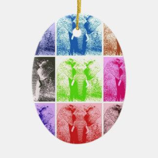 Pop Art Elephants Christmas Tree Ornaments