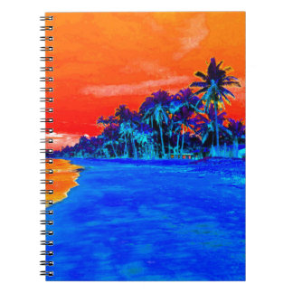 Pop Art Exotic Beach Palm Trees Spiral Notebook