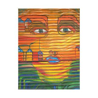 Pop Art face Blue Lips Big Eyes unique Canvas Print