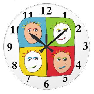 Pop Art Faces Large Clock