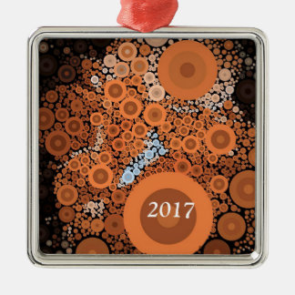 Pop Art Floral Orange Square Ornament