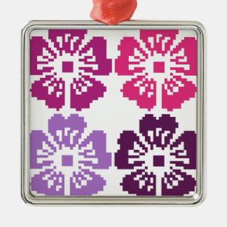 pop art flowers Silver-Colored square decoration