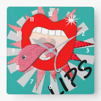 Pop Art Funky Bold Red Lips Mouth Piercings Square Wall Clock