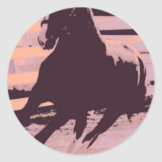 Pop Art Galloping Horse Round Sticker