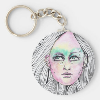 Pop-Art Girl Basic Round Button Key Ring