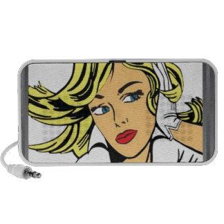 Pop art girl vector design portable speaker