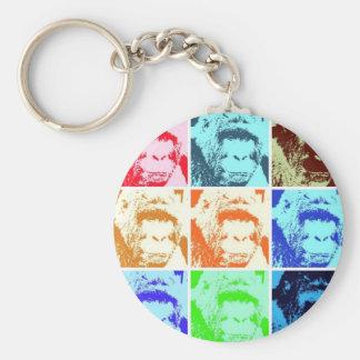Pop Art Gorilla Basic Round Button Key Ring
