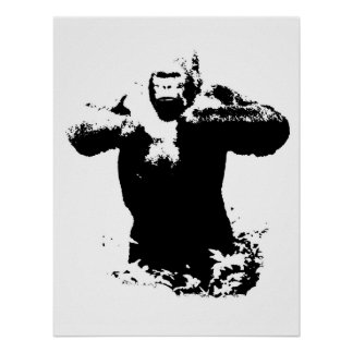 Pop Art Gorilla Beating Chest Poster