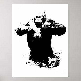 Pop Art Gorilla Beating Chest Poster