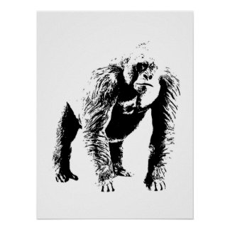 Pop Art Gorilla Poster Print