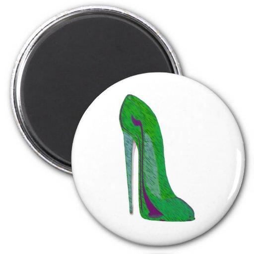 Pop-Art Green and Black Stiletto Shoe Refrigerator Magnets