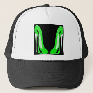 Pop-Art Green and Black Stiletto Shoes Trucker Hat