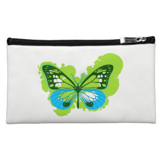 Pop Art Green Butterfly Cosmetics Bag