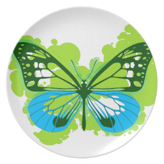 Pop Art Green Butterfly Plate