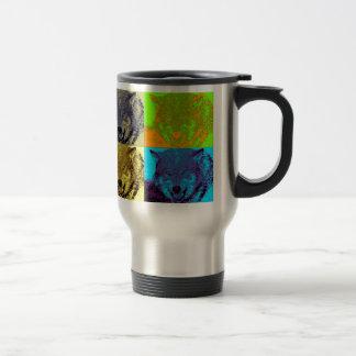 Pop Art Grey Wolf Stainless Steel Travel Mug