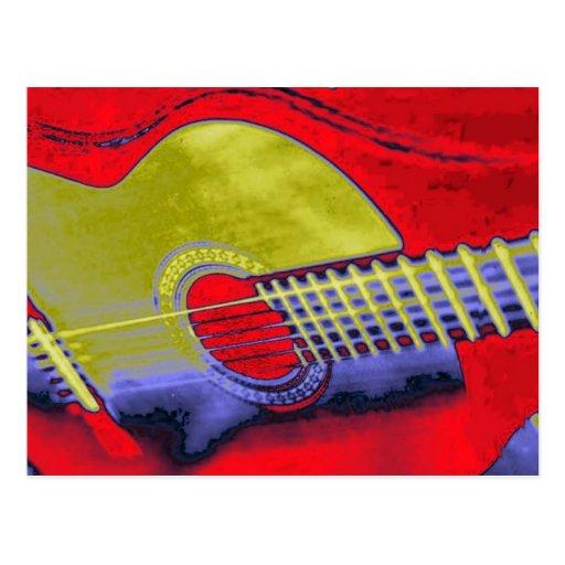 Pop Art Guitar Post Cards