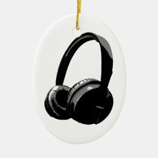 Pop Art Headphone Ceramic Oval Decoration