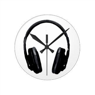 Pop Art Headphone Round Wall Clock