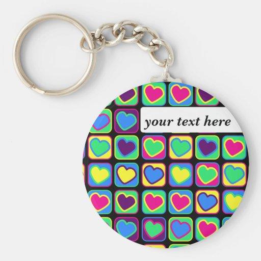 pop art hearts keychain