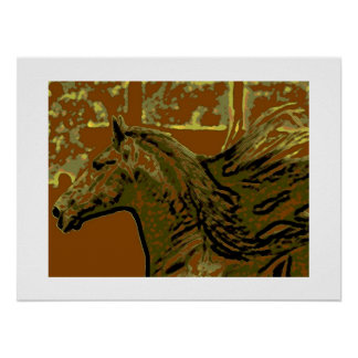 Pop Art Horse Print Poster with White Borders