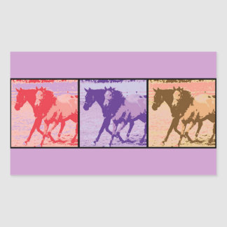 Pop Art Horses Rectangular Sticker