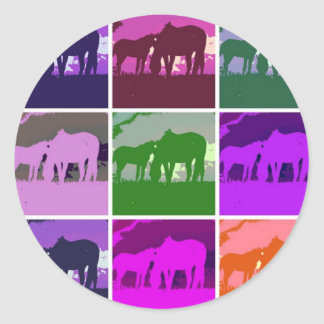 Pop Art Horses Round Sticker