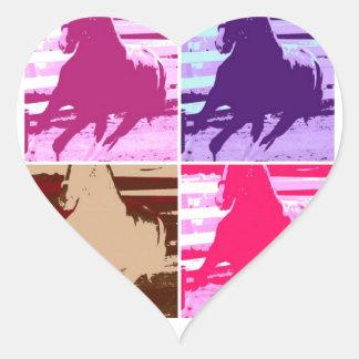 Pop Art Horses Heart Sticker