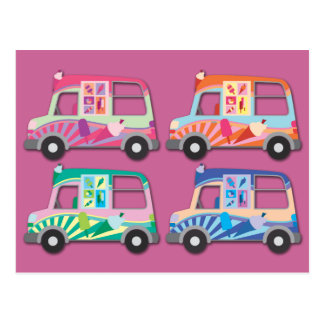Pop Art Ice Cream Van Pink Postcard