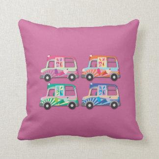 Pop Art Ice Cream Van Pink Throw Pillow