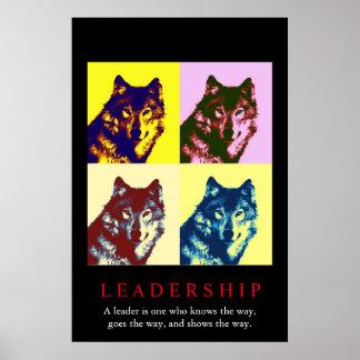 Pop Art Inspirational Leadership Wolf Poster