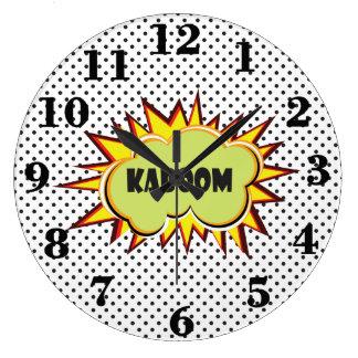 Pop art Kaboom typography Large Clock