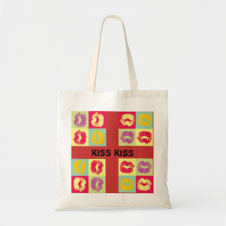 pop art kiss tote bag