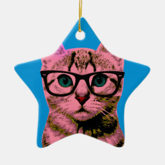 Pop Art Kitten Ceramic Star Decoration