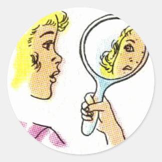 Pop Art Lady Classic Round Sticker