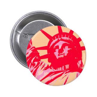 Pop Art Lady Liberty New York City 6 Cm Round Badge