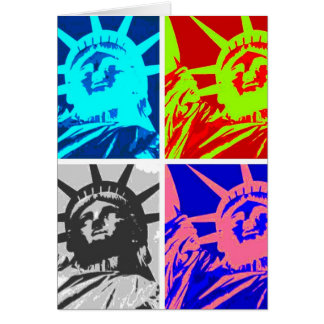 Pop Art Lady Liberty New York City Greeting Cards