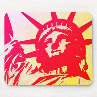 Pop Art Lady Liberty New York City Red Yellow Mouse Mat